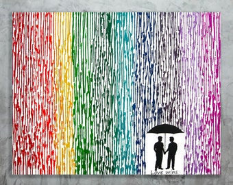 Love Wins, Gay Pride Art, Gay Wedding Gift, 22x28 Rainbow Art, Rain Painting, Silhouette Wax Painting, LGBT Pride, Gifts For Gay Couples
