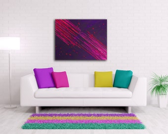 Purple Abstract Painting, Deep Purple and Hot Pink Art, Abstract Painting on Canvas, Wax Painting Pink and Purple Painting Acrylic Art 22x28
