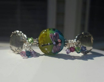 Vibrant Dragonfly Vintage Silver Spoon  Bracelet