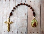 One Decade Rosary of Brown and Black Mahagony Obsidian with Saint Anthony Medal