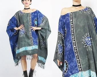 25% off SALE Boho Caftan Dress Hippie Sun Print Summer Kaftan Dress Floral Striped Tie Dye Beach Dress Slouchy Summer Muu Muu Boho Fringe Dr