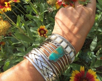 """Vintage nickel alloy """"German silver"""" cuff with green blue turquoise, Native American inspired jewelry, Southwestern boho turquoise bracelet"""