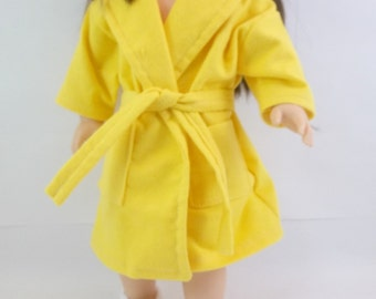 18 inch Doll Clothes Fits American Girl Doll Bright Yellow Robe White Crochet Slippers