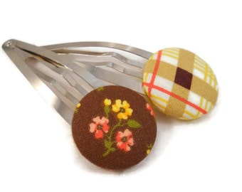 Large Hair Clips Hair Accessories for Teens Fabric Button Snap Clips Brown Yellow Orange Plaid and Flowers Hair Barrette Set Gift Set