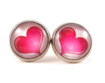 Pink Heart Earrings, Valentine Gifts, Heart Jewelry for Teen Girls, I Love You Gifts, Round Earrings, Photo Earrings, Cute Earrings Studs