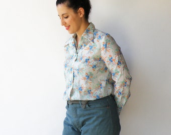 Vintage Sheer Top / Floral Blouse / Size L