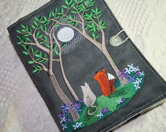 Fox and Kitty in the Moon liight in Spring Kindle Cover