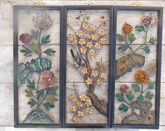 Vintage Asian Metal Wall Art Asian Decor Mid Century 3D Art Floral