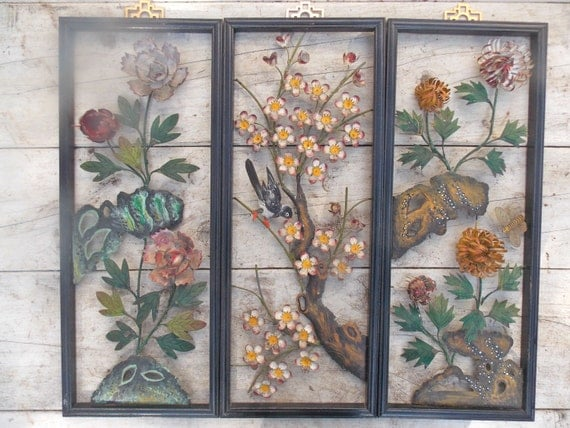 Oriental Metal Wall Decor : Vintage asian metal wall art decor mid century d