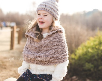 Instant Download Knitting PATTERN Super Bulky Textured Knit Capelet Kids Sizes 2, 4, 6, 8, 10, 12, 14, 16, Women's S, M, L