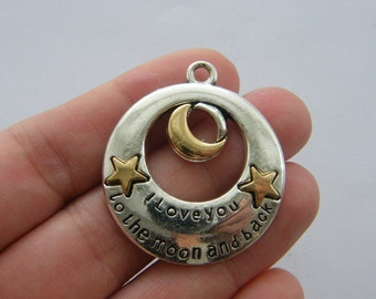 1 I love you to the moon and back charm antique silver and gold tone BOX21