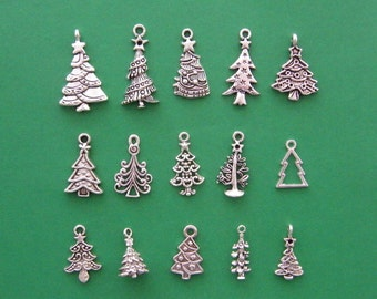 The Christmas Tree Collection - 15 different antique silver tone charms