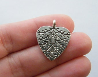 10 Leaf pendants antique silver tone BOX7