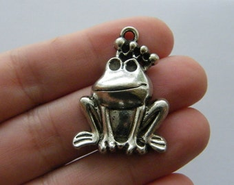 2 Frog prince charms antique silver tone A94