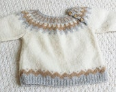 Vintage Pullover Baby Sweater Hand Knit, Size 1-2 years