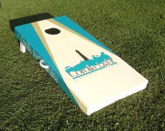 Handmade Deluxe Custom Hand Painted Cornhole Board Set Corporate (Custom Bags)