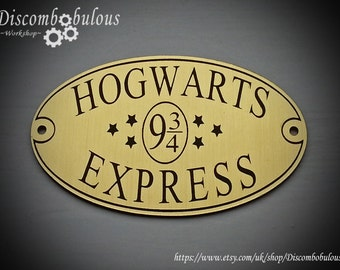Hogwarts Express Brass Plaque for Witches and Wizards, Gryffindor, Slytherin, Hufflepuff, Ravenclaw