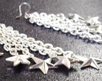 Long Silver Shooting Star Chain Earrings