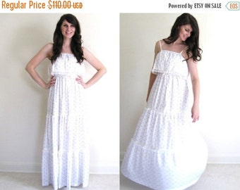ON SALE 70s Maxi Dress / Shabby Chic Wedding Dress / Boho Dress / Tiered Wedding Dress