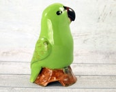 Green parrot or short tailed parrot pie bird ceramic one of a kind hand crafted by Anita Reay AnitaReayArt