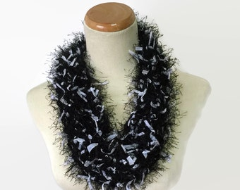 Black And White Cowl, Knit Cowl, Black Cowl, Fashion Scarf, Knit Scarf, Scarf, Womens Scarf, Fall Scarf, Gift For Her, Fashion Accessory