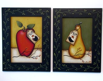Primitive Apple or Primitive Pear in Black Frame, Handpainted Wood, Hand Painted Prim Home Decor, Wall Art or Shelf Sitter, Tole Painting B4