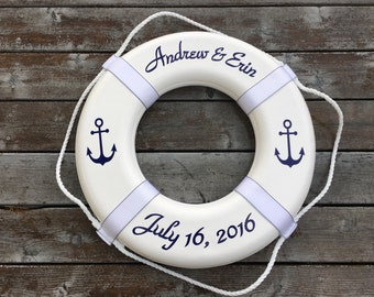Personalized Nautical Ring Buoy with Anchors Nautical Wedding Guest Book Photo Prop
