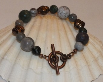 Antiqued Copper Bracelet With Indian Agate Beads And Copper Spacers
