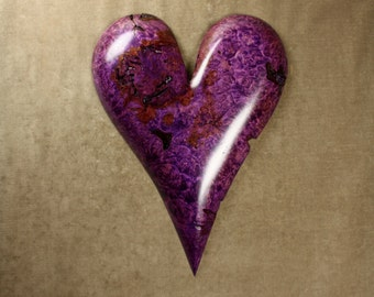 A purple wood carving of a Heart personalized 5th Anniversary gift handmade