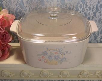 Vintage Corning Ware Pyroceram Country Cornflower 3 Liter Dutch Oven Casserole Glass Cookware, Mid Century Kitchen, Vintage Kitchen Bakeware
