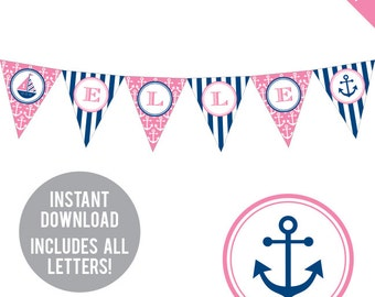 INSTANT DOWNLOAD Pink Nautical Party - DIY printable pennant banner - Includes all letters, plus ages 1-18