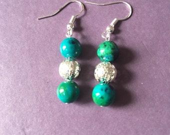 Turquoise Chrysocolla Round Gem Gemstone earring