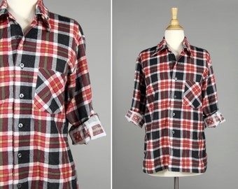 Vintage Classic Black and Red Plaid Button Up- Buffalo Check Plaid- Size Medium or Large M L