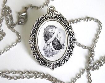 Mermaid- Necklace- filagree- original artwork - April Alayne- Large- Nautical