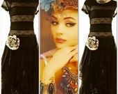 Sale Gypsy maxi dress, black Stevie Nicks styledress, bohemian Festival maxi dresses, altered clothing, romantic lace dress, true rebel clot