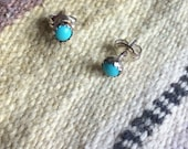 Genuine Indian Handcrafted Sterling Silver Turquoise Stud Earrings