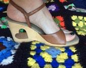 Vintage 1970s Wood Carved Heart  Shoe Sandal Wedges