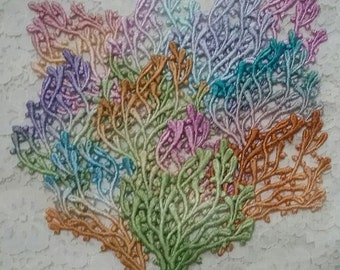 Sea Coral Lace Hand Dyed Venise Crazy Quilt Under the Sea Appliques