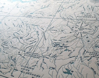 Portland Oregon, Columbia River Gorge, and Mount Hood Letterpress Map Print