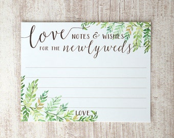 Wedding Guest Book Alternative - Love Notes and Wishes for the Newlyweds - Woodland Wedding Guestbook - Wish Cards - 4.25 x 5.5 inch