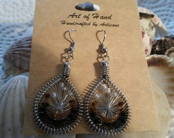 Brown String Art Earrings