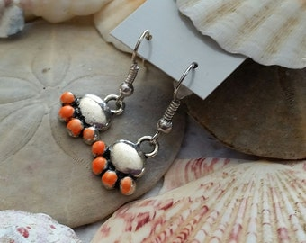 A Cats Paws Painted Orange and Black Earrings