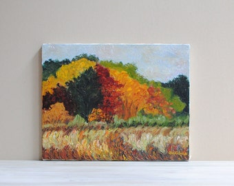 Vintage Original Landscape Painting / Fall Foliage