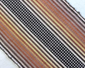 Machine Washable Cotton Rag Rug 2' x 4' in Black, White and Neutrals / Handmade Rag Rug