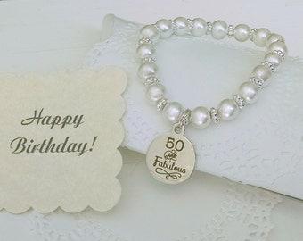 50th Birthday, Happy Birthday, Birthday Gift For Woman, Milestone Birthday, 50th Birthday Gifts For Women, Pearl Bracelet