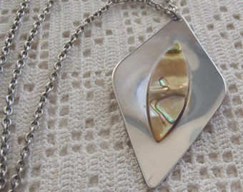 Vintage Necklace Stainless Steel Sheffield England Abalone