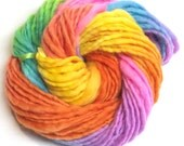 Super bulky handspun and handpainted rainbow yarn - 50 yards and 2.8 ounces/80 grams