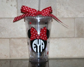 Monogramed Minnie Mouse 16oz Insulated cup with polka dots and ribbon