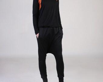 NEW  Drop Crotch Pocket Trouser with Ankle Cuff, Low Crotch Pants, Comfy Harem Pants, Jogger Pants, Ponte Pants -  Black Ponte