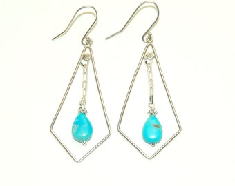 Genuine Turquoise Earrings - Southwestern Jewelry - Sterling Silver - Blue Stone Earrings - Geometric Jewelry